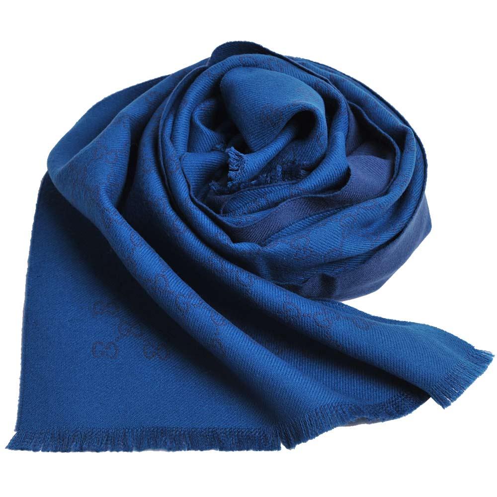 GUCCI SU SOGI 經典GG LOGO羊毛雙面寬版造型圍巾(藍LOGO/孔雀藍底)GUCCI