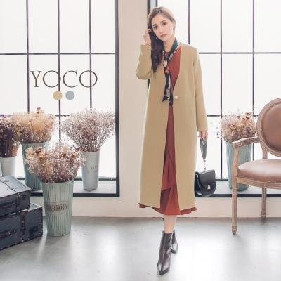 東京著衣-yoco 法式優雅簡約珍珠單釦長大衣-S.M.L(共二色)