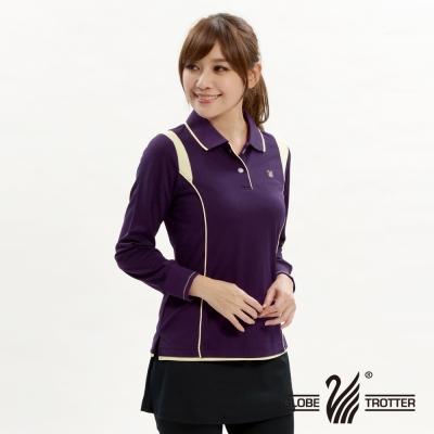 【遊遍天下】台灣製女款抗UV吸濕排汗機能POLO長衫L127深紫