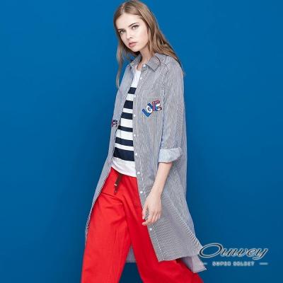 OUWEY歐薇 趣味文字刺繡條紋襯衫洋裝(藍)