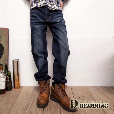 Dreamming 簡約刷紋伸縮中直筒牛仔褲-深藍