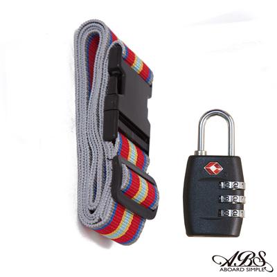 ABS愛貝斯 台灣製造繽紛旅行箱束帶及TSA海關鎖旅遊安全配件組(99-018束帶A15)