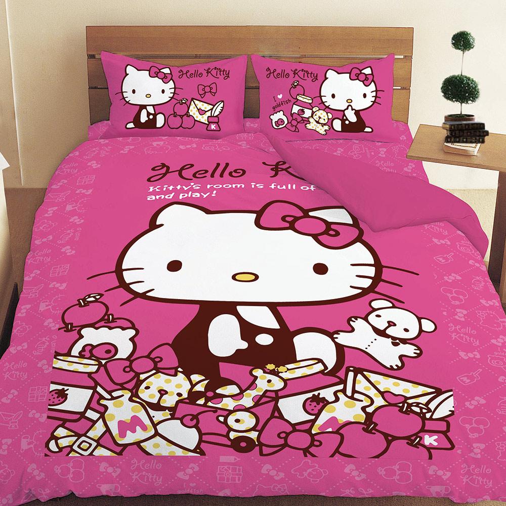 享夢城堡 雙人床包枕套5x6.2三件組-HELLO KITTY 我的遊戲房 R斷-粉.紅