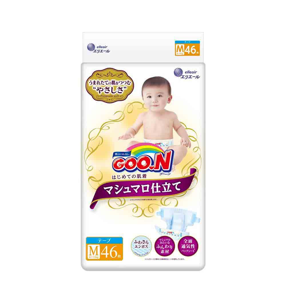 GOO.N日本大王黏貼型紙尿褲(M)46片/包-珍珠棉柔版