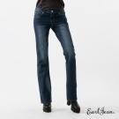 Earl Jean 復古壓褶水洗低腰合身喇叭褲-深藍-女