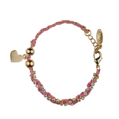 【美國ETTIKA】金愛心墜水晶鍊粉紅繩纏繞手環