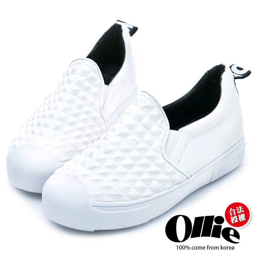 Ollie韓國空運-立體菱格紋奶油平底懶人鞋-白