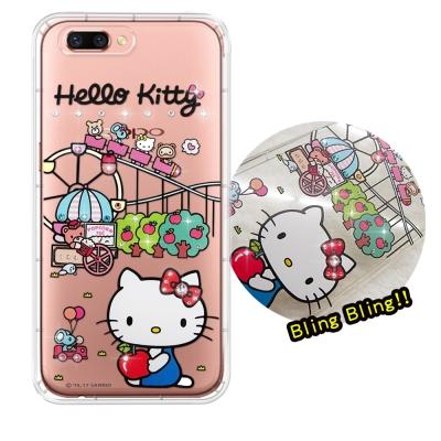 正版凱蒂貓 OPPO R11 5.5吋 夢幻童話 彩鑽氣墊手機殼(遊樂園)