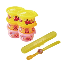 麵包超人-日製圓型分裝盒3入組(小)x2+副食品專用湯匙S(離乳食)