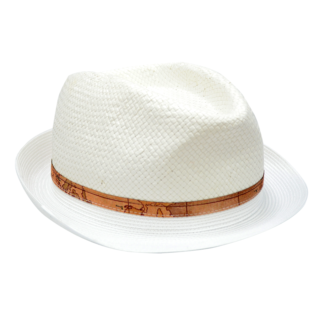 Alviero Martini 義大利地圖 編織紳士帽-白色