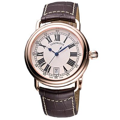 AEROWATCH Lady Elegance 經典機械腕錶-米白/玫瑰金框/ 39 mm