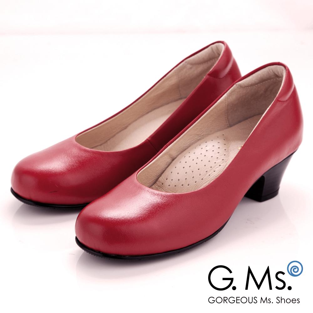 【G.Ms.】MIT系列‧通勤必備全真皮素面小粗跟鞋‧復古紅