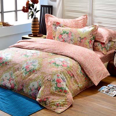 義大利La Belle 安娜莉亞 特大四件式防蹣抗菌舖棉兩用被床包組