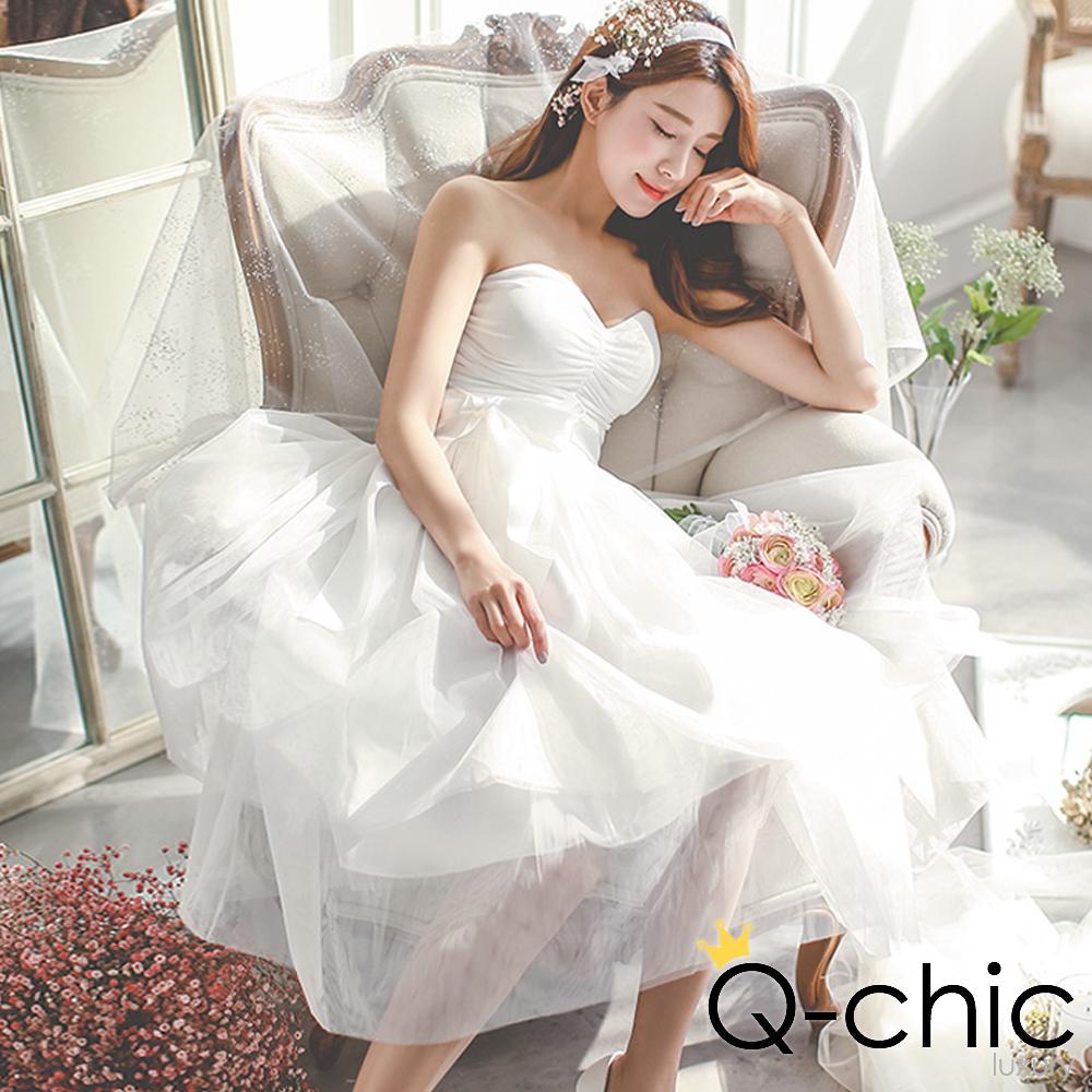 正韓 緞帶蝴蝶結層次網紗長裙 (白色)-Q-chic