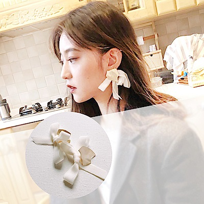 梨花HaNA韓國冷淡性感風潮緞帶霧金長耳環
