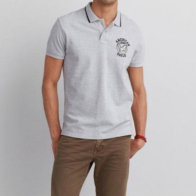 AE 男裝 老鷹標籤POLO短衫(淺灰)