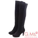 G.Ms. 麂皮絨貼鑽拼接彈力布過膝長靴-纖腿黑