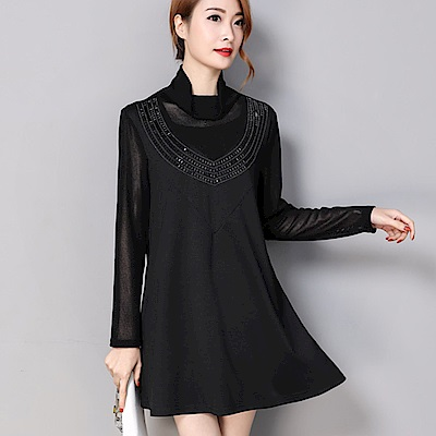 ALICAI 艾麗彩 高領釘珠透膚傘狀中短裙修身洋裝(三色/L-5XL)