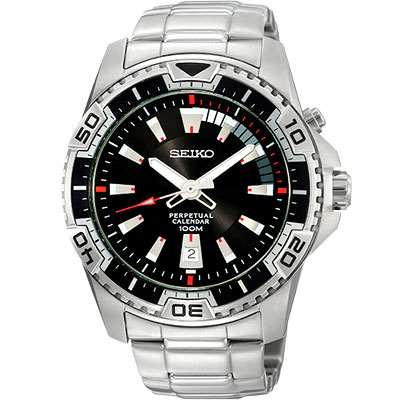 SEIKO 金屬主義時尚萬年曆腕錶(SNQ109P1)-黑