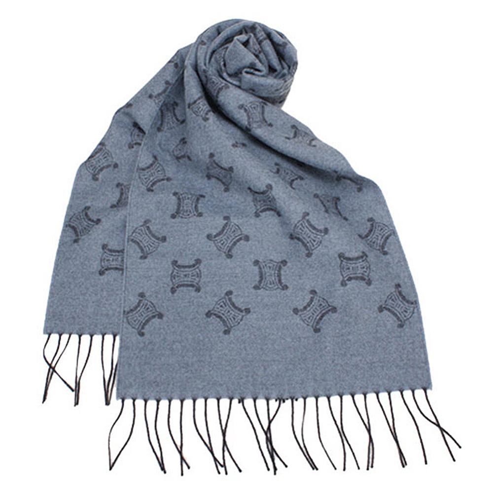 【CELINE】經典LOGO圖紋100% 雙面羊毛圍巾(灰藍色)