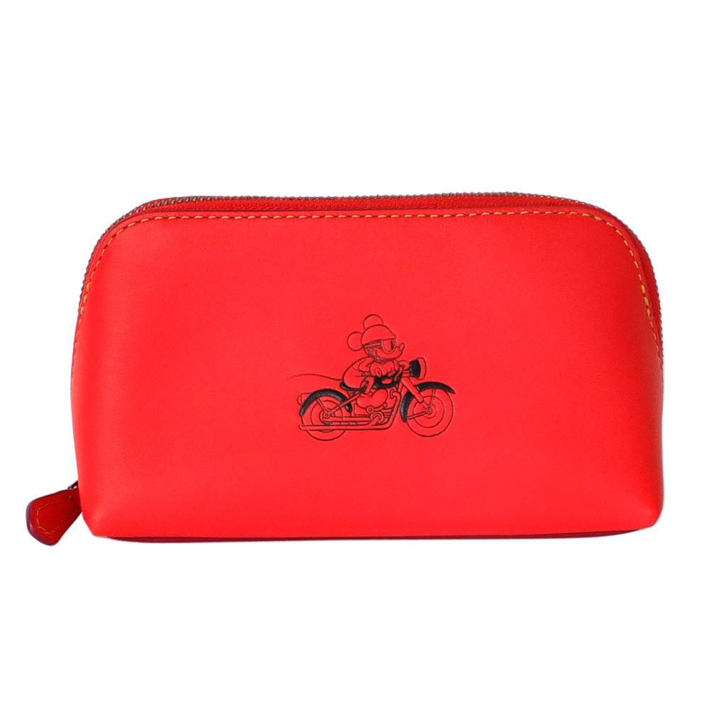 COACHXDISNEY聯名款紅色全皮打檔車MICKEY梯型化妝包(中)COACH