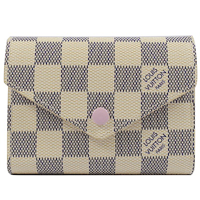 LV N64022 Victorine 白棋盤格紋PVC零錢短夾
