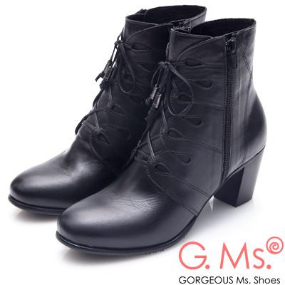 G.Ms. MIT系列-牛皮鏤空綁帶拉鍊高跟短靴-黑色