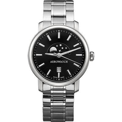 AEROWATCH Renaissance moon 復刻石英腕錶-黑x銀/40mm