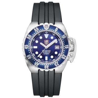 LUMINOX Scott Cassell深潛500米限量機械錶-金屬藍x銀時標/44mm