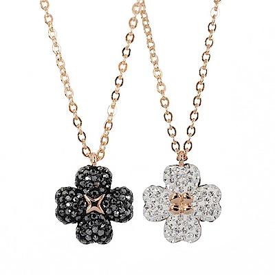 SWAROVSKI 施華洛世奇 雙面雙色黑白晶鑽幸運草造型玫瑰金項鍊