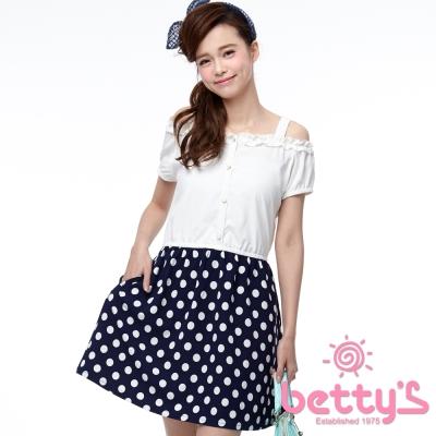 betty-s貝蒂思-荷葉抓褶領身拼接圓點洋裝