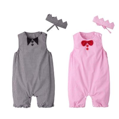 baby童衣 經典格紋圓領無袖連身衣附頭飾 兩件組 60355