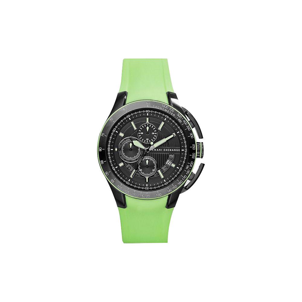 A│X Armani Exchange 卓越科技計時腕錶-灰x綠/45mm