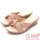 G.Ms. MIT系列-扭結印花羊皮坡底涼拖鞋-粉紅