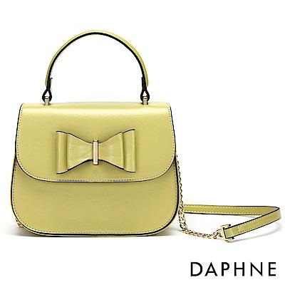 達芙妮DAPHNE-金屬鍊帶蝴蝶結手提側背兩用包-綠