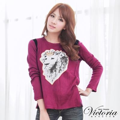 Victoria 雪紡配色印染上衣-女-紫紅