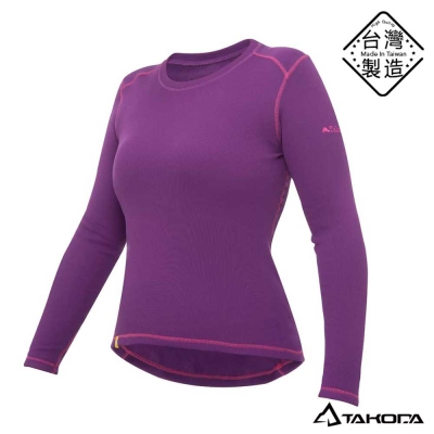 TAKODA女款刷毛內搭機能圓領T恤輕薄保暖衣(紫色)