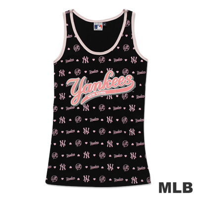 MLB-紐約洋基隊滿版LOGO印花背心-黑(女)