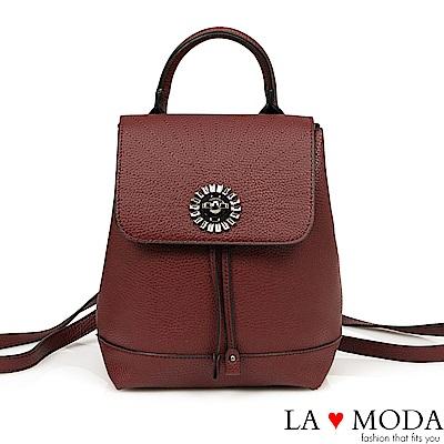 La Moda 質感滿分寶石水鑽綴飾大容量後背包(紅)