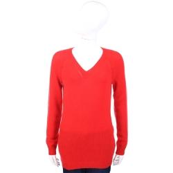 ALLUDE 喀什米爾紅色縷空V領織紋羊毛衫