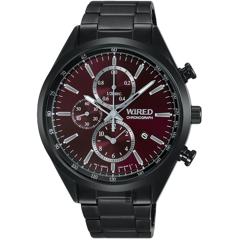 WIRED 關鍵時刻三眼計時腕錶(AY8017X1)-暗紅x鍍黑/41mm