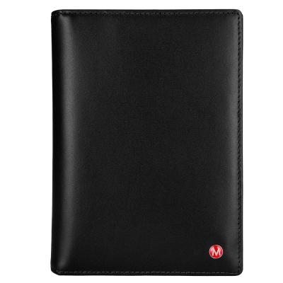 MONDAINE瑞士國鐵-牛皮雙色護照夾-黑x米