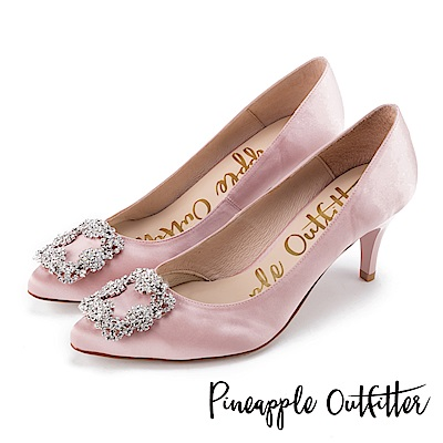 Pineapple Outfitter 璀璨名媛 方鑽飾釦尖頭高跟鞋-粉色