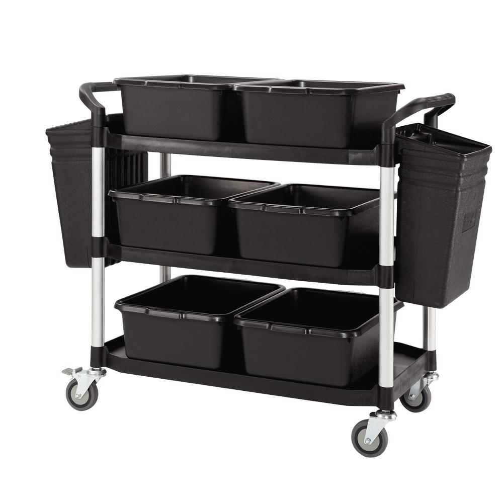 100%台灣製 豪華大型多功能三層工具餐車/置物架/手推車-全配經典黑