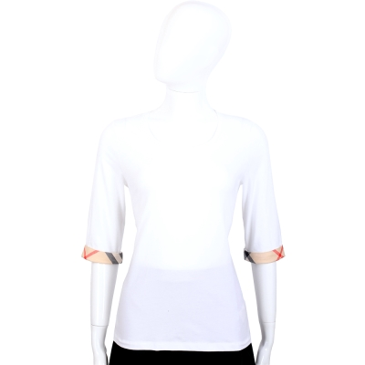 BURBERRY BRIT系列 經典格紋設計七分袖棉質上衣(白色)