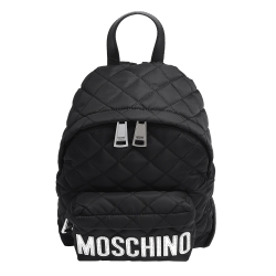MOSCHINO 經典菱格紋縫線銀色LOGO尼龍後背包(小-黑)