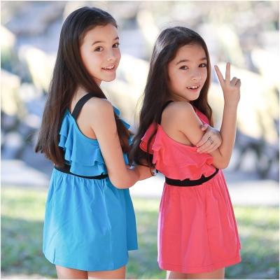 baby童衣 糖果色系荷葉領斜肩吊帶洋裙 42151
