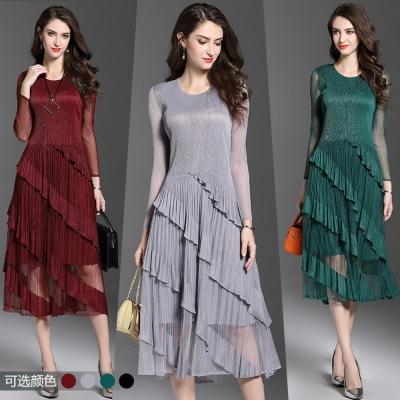 經典時尚壓摺網紗裙擺長袖連衣裙(共四色)-糖潮