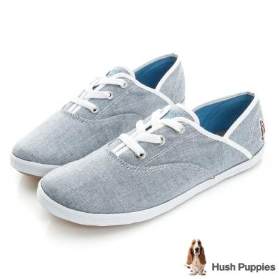 Hush Puppies 輕亮類牛仔咖啡紗帆布鞋-牛仔藍