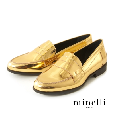 Minelli--西班牙製造 全真皮率性樂福平底鞋-奢華金